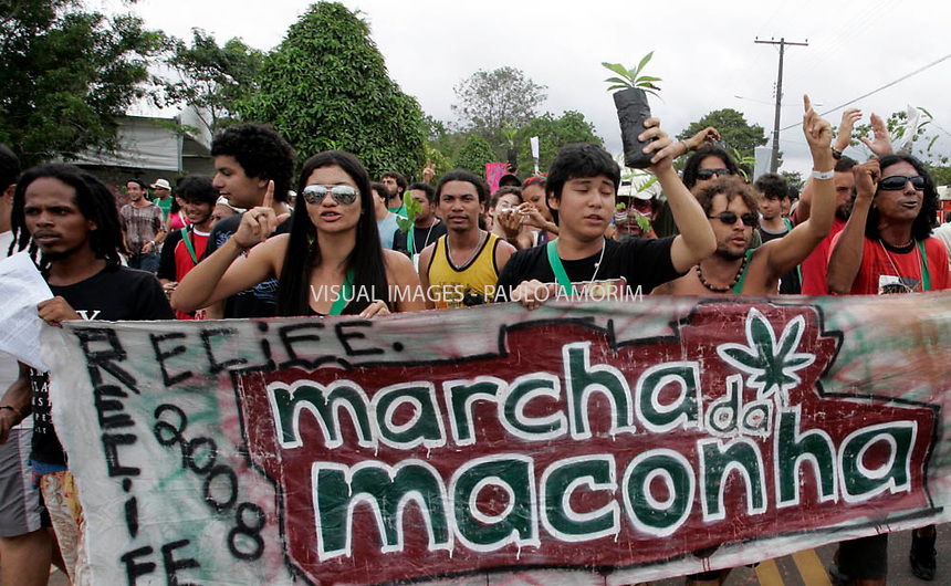March of marijuana for legalization during the World Social Forum on January 31, 2009 in Belem, Para, northern Brazil.