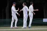 Billerciay players celebrate taking the wicket of A Raji during Ilford CC (batting) vs Billericay CC, Shepherd Neame Essex League Cricket at Valentines Park on 25th May 2019