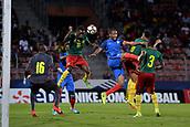 June 8th 2017, Créteil, France, U-21 International football friendly, France versus Cameroon;  Abdou Diallo (fra) challenges Stephane Emana Onesine (cam) for the high ball