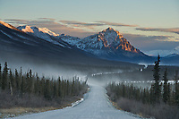 Dust along the gravel road, mount Dillon and the James Dalton Highway, Haul Road, in the Brooks Range, Arctic Alaska
