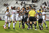 Orlando, FL - Saturday Jan. 21, 2017: Tempers flare early in the first half of the Florida Cup Championship match between São Paulo and Corinthians at Bright House Networks Stadium.