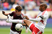 Drew Moor (3) of the Colorado Rapids and Thierry Henry (14) of the New York Red Bulls. The New York Red Bulls defeated the Colorado Rapids 4-1 during a Major League Soccer (MLS) match at Red Bull Arena in Harrison, NJ, on March 25, 2012.