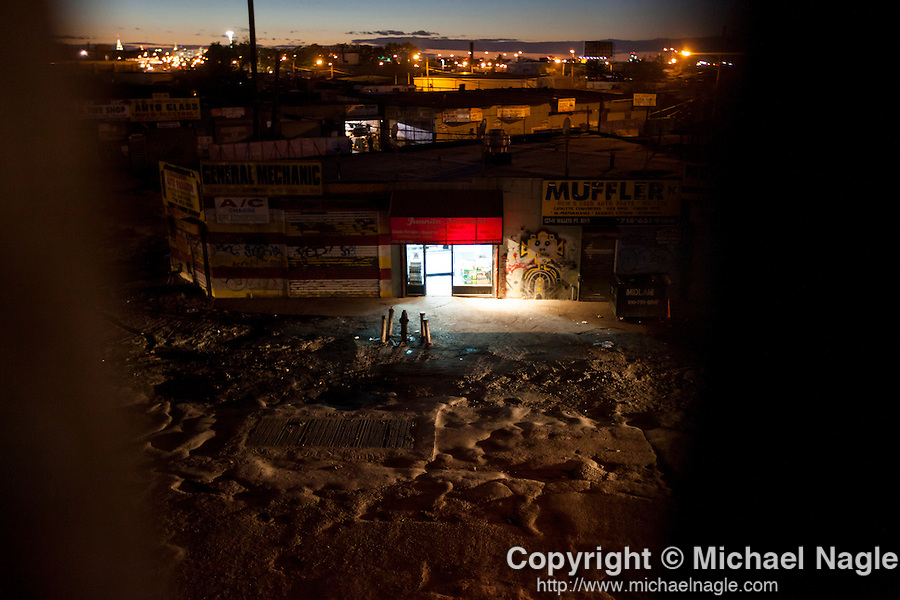 QUEENS, NY -- OCTOBER 25, 2013:   An nighttime overview of Willets Point on October 25, 2013 in Queens, NY.  PHOTOGRAPH  BY MICHAEL NAGLE FOR THE NEW YORK TIMES