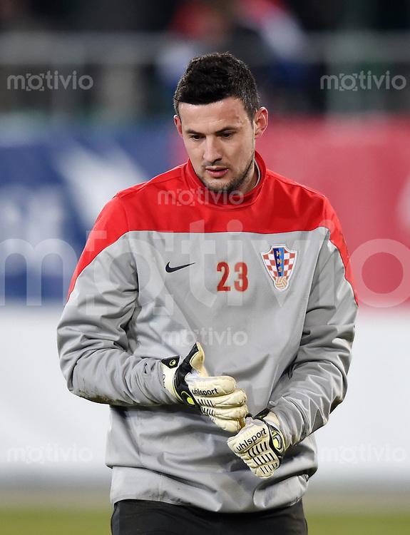 FUSSBALL INTERNATIONALES TESTSPIEL in Sankt Gallen Schweiz - Kroatien       05.03.2014 Torwart Danijel Subasic (Kroatien)