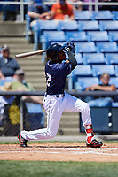 Binghamton Rumble Ponies center fielder Champ Stuart (2) follows through on a swing during a game against the Altoona Curve on June 14, 2018 at NYSEG Stadium in Binghamton, New York.  Altoona defeated Binghamton 9-2.  (Mike Janes/Four Seam Images)
