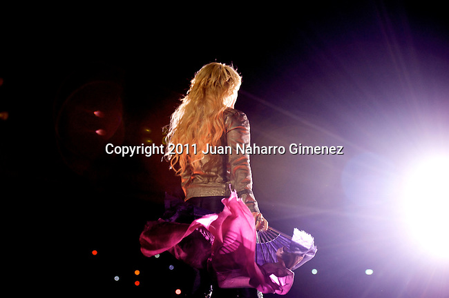 MADRID, SPAIN - JUNE 03:  Colombian singer Shakira performs on stage at Vicente Calderon Stadium on June 3, 2011 in Madrid, Spain.  (Photo by Juan Naharro Gimenez)