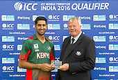 ICC World T20 Qualifier - GROUP B MATCH - CANADA V KENYA at Watsonians CC, Edinburgh - Man of the Match Irfan Karim receives his award from Cricket Scotland Board member Bob McFarlane — credit @ICC/Donald MacLeod - 10.07.15 - 07702 319 738 -clanmacleod@btinternet.com - www.donald-macleod.com