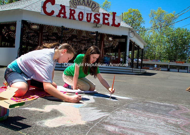 MIDDLEBURY, CT.- 12 MAY 2012  051212JW03 - Competing for the third year Memorial Middle school artists Siobhan Flanagan and Sarah Kwashnak work on their chalk drawing Saturday afternoon at Quassy Amusement Park during a chalk design contest.  Jonathan Wilcox Republican American