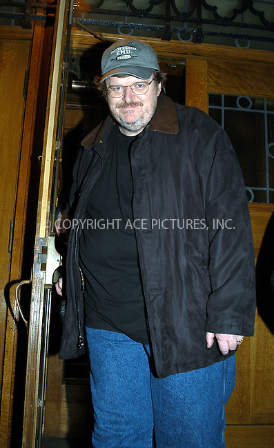 "Celebrities gather in New York to discuss how to defeat President Bush ""Victory Campaign 2004."" PICTURED: MICHAEL MOORE. New York, February 4, 2004. Please byline: AJ SOKLANER/NY Photo Press.   ..*PAY-PER-USE*      ....NY Photo Press:  ..phone (646) 267-6913;   ..e-mail: info@nyphotopress.com"