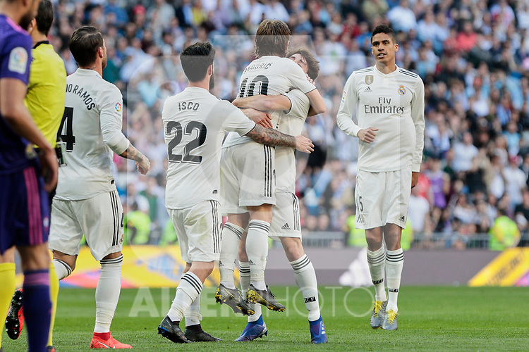 Real Madrid's XXX and Real Club Celta de Vigo's XXX during La Liga match between Real Madrid and Real Club Celta de Vigo at Santiago Bernabeu Stadium in Madrid, Spain. March 16, 2019. (ALTERPHOTOS/A. Perez Meca)
