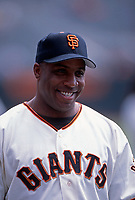 SAN FRANCISCO, CA:  Barry Bonds of the San Francisco Giants smiles on the field before a game at Pacific Bell Park in San Francisco, California in 2001. (Photo by Brad Mangin)
