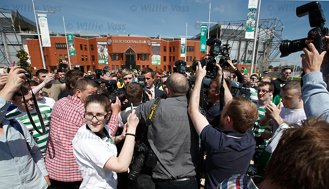 Ronny Deila mobbed by fans as he is unveiled as Celtic's chosen one