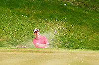 Soren Kjeldson chips out of a bunker on the 4th green during the BMW PGA Golf Championship at Wentworth Golf Course, Wentworth Drive, Virginia Water, England on 28 May 2017. Photo by Steve McCarthy/PRiME Media Images.