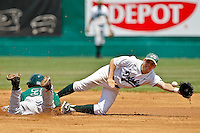 April 23, 2011:   Stetson Hatters of Jeff Simpson (3) slides in second base safely as Jacksonville University Dolphins infielder Chris Moye (3) stretches for a wide throw during Atlantic Sun Conference action between Stetson Hatters and Jacksonville University Dolphins at John Sessions Stadium in Jacksonville, Florida.  Jacksonville defeated Stetson 10-4...........