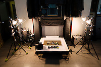 An artwork ready to be photographed as part of the collotype printing process. Benrido collotype atelier, Kyoto, Japan, October 9, 2015. The Benrido collotype atelier in Kyoto was founded in 1887 and is the only full-scale commercial collotype atelier in the world. Collotype is a historic photographic printing process that makes use of plates coated in gelatine. It produces prints of unrivalled quality.