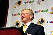Joe Gibbs meets press after being named head coach of the Washington Redskins at Redskin Park in Ashburn, Virginia on January 8, 2004.  Gibbs previously worked as  the head coach of the Redskins from 1981 through 1992.<br /> Credit: Arnie Sachs / CNP