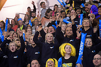Fans in the stands druing the ANZ Premiership netball final between the Central Pulse and Southern Steel at Arena Manawatu in Palmerston North, New Zealand on Sunday, 12 August 2018. Photo: Dave Lintott / lintottphoto.co.nz
