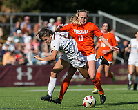 Newton, Massachusetts - October 22, 2017: NCAA Division I. University of Virginia (orange/white) defeated Boston College (white), 2-1, at Newton Campus Soccer Field.Red Card: Zoe Morse