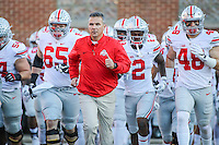 College Park, MD - November 12, 2016: Ohio State Buckeyes head coach Urban Meyer leads his team during game between Ohio St. and Maryland at  Capital One Field at Maryland Stadium in College Park, MD.  (Photo by Elliott Brown/Media Images International)