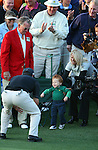 AUGUSTA, GA- APRIL 13:  2008 Masters Champion Trevor Immelman of South Africa is congratulated by his wife and son after his victory during the final round of the 2008 Masters on April 13, 2008 at Augusta National Golf Club in Augusta, Georgia. (Photo by Donald Miralle)