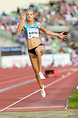 June 15th 2017, Bislett Stadion , Oslo, Norway; Diamond League Oslo Bislett Games;  Darya Klishina of Azania competes in the ladies long jump during the IAAF Diamond League held at the Bislett Stadium