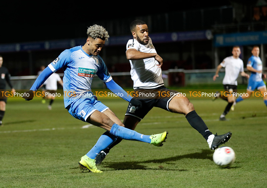Dior Angus fires a shot on goal for Barrow during Dover Athletic vs Barrow, Vanarama National League Football at the Crabble Athletic Ground on 4th February 2020