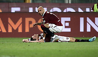 Calcio, Serie A: Torino - Sassuolo, Olympic stadium Grande Torino, August 25, 2019.<br /> Torino's captain Andrea Belotti (lying down) and Simone Zaza celebrate after winning 2-1 the Italian Serie A football match between Torino and Sassuolo at Olympic stadium Grande Torino, August 25, 2019.<br /> UPDATE IMAGES PRESS/Isabella Bonotto