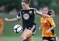 BOYDS, MARYLAND-JULY 07,2012:  Jerica DeWolfe (20) of DC United Women in action against the Dayton Dutch Lions during a W League game at Maryland Soccerplex, in Boyds, Maryland. DC United women won 4-1.