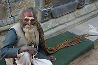 100 plus year old Sadhu at the Shambhu Nath Hindu traditional Cremation Area, Kathmandu, Nepal