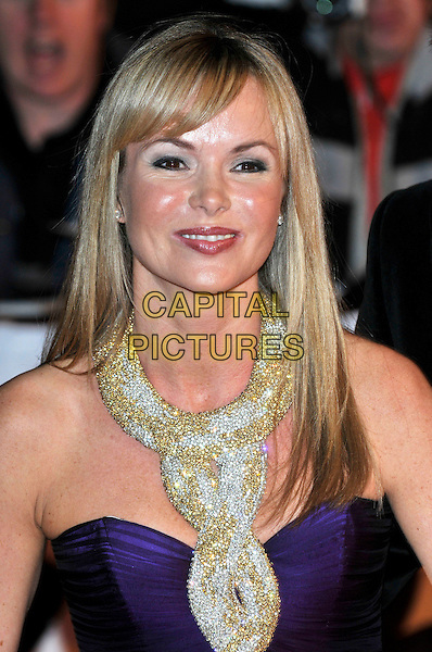AMANDA HOLDEN .Arrivals - 2009 Brit Awards, Earls Court, London, England, February 18th 2009..brits portrait headshot fringe gold purple neck necklace halterneck embellished sparkly .CAP/PL.©Phil Loftus/Capital Pictures