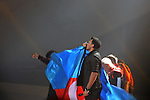 "Emin Agalarov kisses the Azerbaijani flag at the end of his performance of ""Never Enough,"" during the voting intermission at the Eurovision Song Contest in Baku, Azerbaijan on May 26, 2012.  Agalarov is the son-in-law of Azerbaijani President Ilham Aliyev and is married to his daughter Leyla Aliyeva, the director of the Heydar Aliyev Foundation in Russia and editor of Baku Magazine."