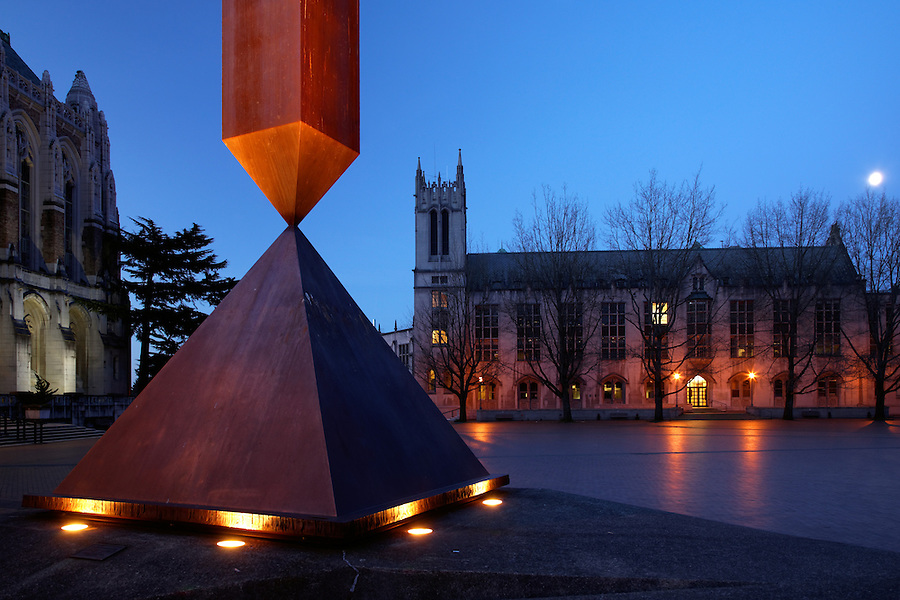 Suzzallo Library, Gerberding Hall and broken obelisk in Red Square at twilight, University of Washington, Seattle, Washington, USA