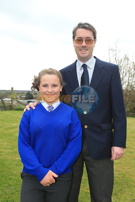 Kayleigh and Alan Cooper.at confirmation in Mell Church..Picture:  www.newsfile.ie ..