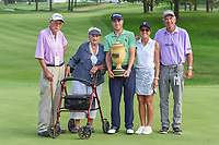 Justin Thomas (USA) and his family with The Gary Player Cup for winning the 2018 World Golf Championships - Bridgestone Invitational, at the Firestone Country Club, Akron, Ohio. 8/5/2018.<br /> Picture: Golffile | Ken Murray<br /> <br /> <br /> All photo usage must carry mandatory copyright credit (© Golffile | Ken Murray)