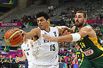 07.09.2014. Barcelona, Spain. 2014 FIBA Basketball World Cup, round of 16. Picture show T. Webster and T. J. Valanciunas  in action during game between New Zealand   v  Lithuania at Palau St. Jordi