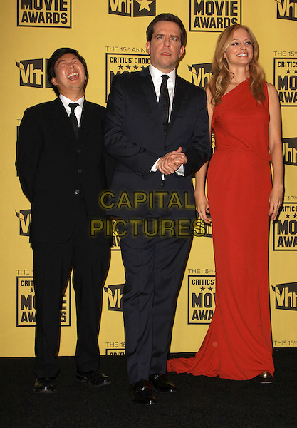 KEN JEONG,  BRADLEY COOPER & HEATHER GRAHAM.15th Annual Critics' Choice Movie Awards Press Room held The Hollywood Palladium, Hollywood, California, USA, 15th January 2010..press room pressroom full length black suit red one shoulder dress blue tie long maxi navy .CAP/ADM/KB.©Kevan Brooks/Admedia/Capital Pictures
