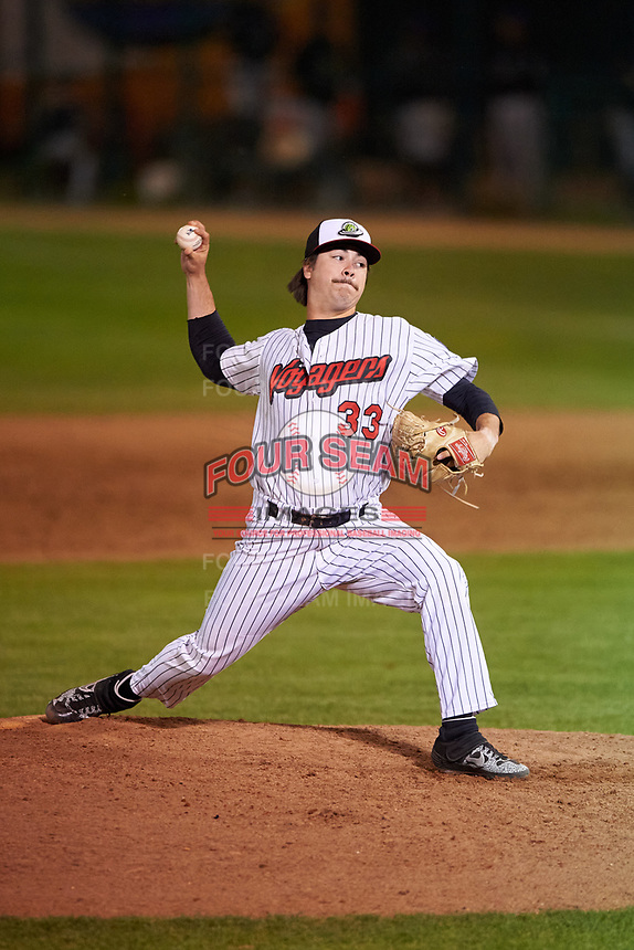 Great Falls Voyagers relief pitcher Caleb Freeman (33) during a Pioneer League game against the Missoula Osprey at Centene Stadium at Legion Park on August 19, 2019 in Great Falls, Montana. Missoula defeated Great Falls 1-0 in the second game of a doubleheader. (Zachary Lucy/Four Seam Images)