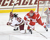 Mary Restuccia (BC - 22), Tara Watchorn (BU - 27) - The Boston College Eagles defeated the Boston University Terriers 2-1 in the opening round of the Beanpot on Tuesday, February 8, 2011, at Conte Forum in Chestnut Hill, Massachusetts.