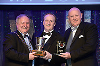 Dermot O'Callaghan, Teachers Musical Society, Dublin who won Best Musical Director / Gilbert Section for the show 'Sweeney Todd' receiving the trophy from on  left, Colm Moules, President, AIMS and Seamus Power, Vice-President at the Association of Irish Musical Societies annual awards in the INEC, KIllarney at the weekend.<br /> Photo: Don MacMonagle -macmonagle.com<br /> <br /> <br /> <br /> repro free photo from AIMS<br /> Further Information:<br /> Kate Furlong AIMS PRO kate.furlong84@gmail.com