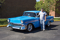 """1956 Cruiser Class (#28C) – 1956 Chevrolet Bel Air 2-Door Sedan registered to """"T"""" Jimmy Fraley is pictured during 4th State Representative Chevy Show on Thursday, June 30, 2016, in Fort Wayne, Indiana. (Photo by James Brosher)"""