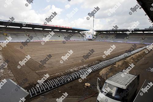 2009-06-16 / Voetbal / Persconferentie /  Werken op het veld van Germinal-Beerschot