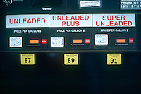 GAS STATION: OCTANE SIGN AT PUMP.Rates How Effectively Fuel Performs In The Engine.When crude oil is 'cracked' in the refinerey it forms hydrocarbon chains of different lengths. These chains can be seperated from each other and blended to form different fuels. Methane is a hydrocarbon chain with eight carbon molecules.