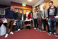 Pictured: Father Christmas with players. Thursday 15 December 2011<br />