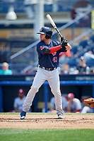 Portland Sea Dogs third baseman Chad De La Guerra (43) at bat during the second game of a doubleheader against the Reading Fightin Phils on May 15, 2018 at FirstEnergy Stadium in Reading, Pennsylvania.  Reading defeated Portland 9-8.  (Mike Janes/Four Seam Images)