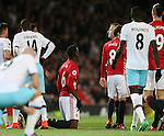 Paul Pogba of Manchester United receives a yellow card during the Premier League match at the Old Trafford Stadium, Manchester. Picture date: November 27th, 2016. Pic Simon Bellis/Sportimage