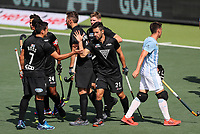 Kane Russell celebrates a goal. Pro League Hockey, Vantage Blacksticks Men v Argentina. North Harbour Hockey Stadium, Auckland, New Zealand. Sunday 10 March 2019. Photo: Simon Watts/Hockey NZ