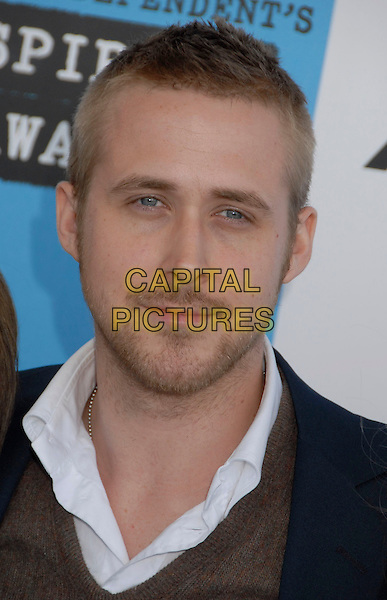 RYAN GOSLING .The 2007 Independent Spirit Awards held at the Santa Monica Pier, Santa Monica, California, USA..February 24th, 2007.headshot portrait beard stubble facial hair .CAP/ADM/GB.©Gary Boas/AdMedia/Capital Pictures