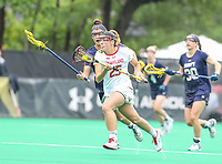 College Park, MD - May 19, 2018: Maryland Terrapins Lizzie Colson (25) runs with the ball during the quarterfinal game between Navy and Maryland at  Field Hockey and Lacrosse Complex in College Park, MD.  (Photo by Elliott Brown/Media Images International)