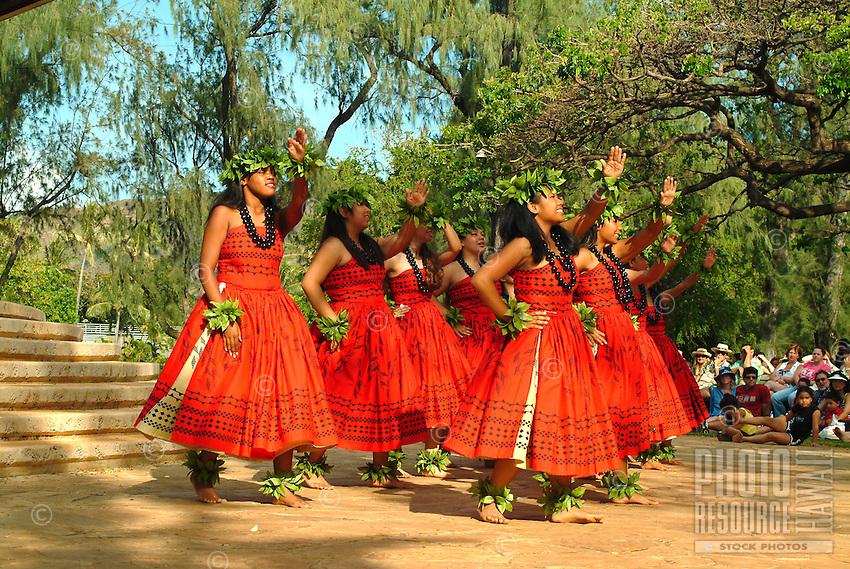 Kahiko hula performance on Lei Day at the Waikiki Bandstand in Kapiolani Park, Waikiki
