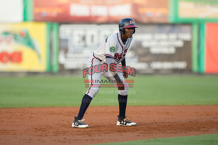 Jan Carlos Encarnacion (8) of the Danville Braves takes his lead off of second base against the Burlington Royals at Burlington Athletic Stadium on August 14, 2017 in Burlington, North Carolina.  The Royals defeated the Braves 9-8 in 10 innings.  (Brian Westerholt/Four Seam Images)